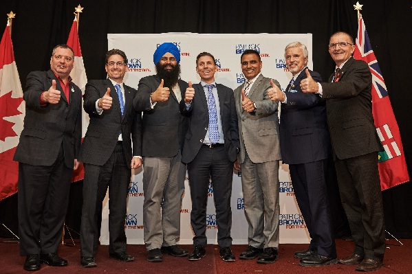 MP Patrick Brown, PC Party of Ontario Leadership candidate and special guests at his recent Peel Gala. Pictured left to right: MP Brad Butt, MP Kyle Seeback, Hon. Minister Tim Uppal, MP Patrick Brown, PC Party of Ontario Leadership candidate, MP Parm Gill, MPP Rick Nicholls, and MP Wladyslaw Lizon