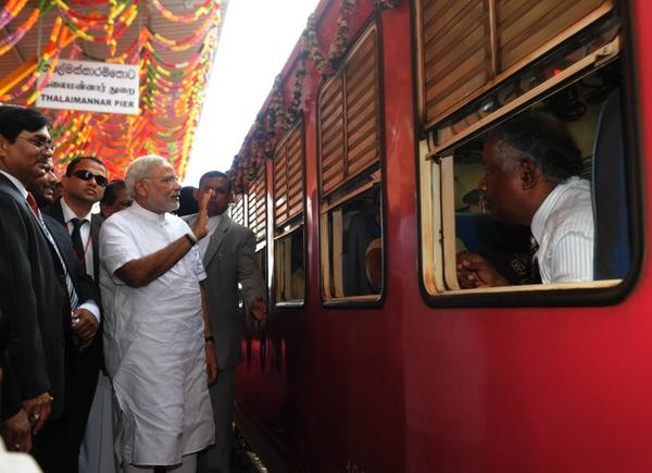 PM Narendra Modi opened the new India assisted Thalaimannar-Vavuniya-Medawchchiya Train Service