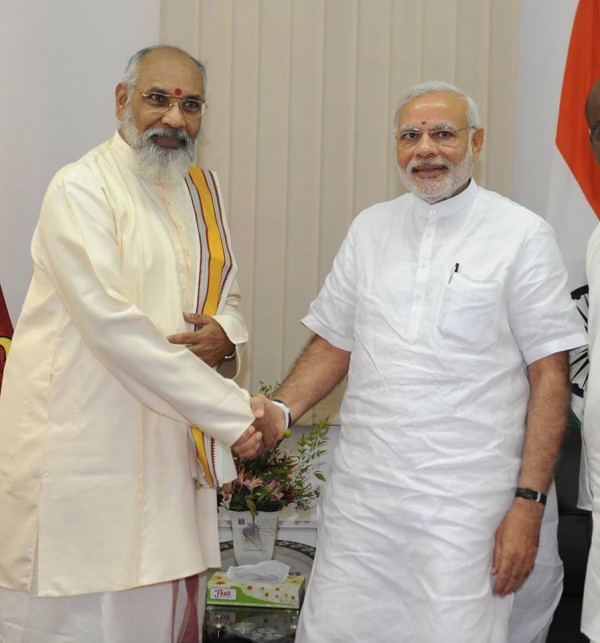 PM Modi meeting with Northern Province Chief Minister CV Wigneswaran in Jaffna.