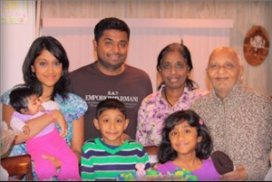 In 2014 - Mr & Mrs Rajadeva with son Ahilan, daughter in law Samitha, grandchildren, Harini, Yuvan and Sanvi