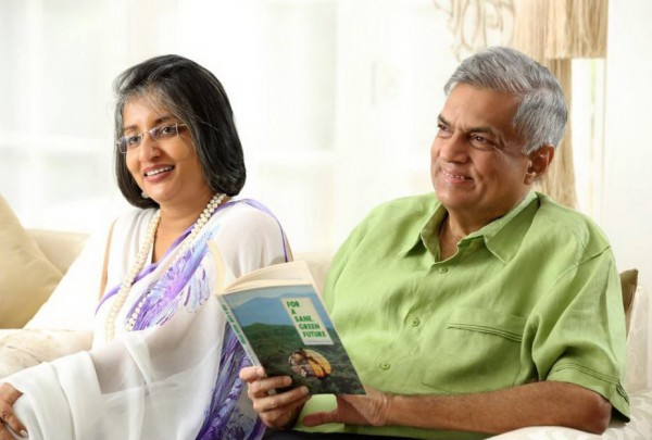Wickremesinghe relaxing with his wife Maithree Wickremesinghe