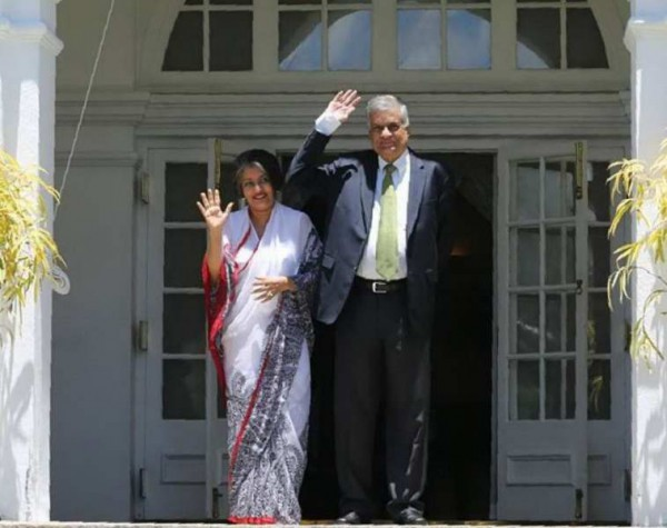 Prime Minister Ranil Wickremesinghe with his wife Maithree at the Media event