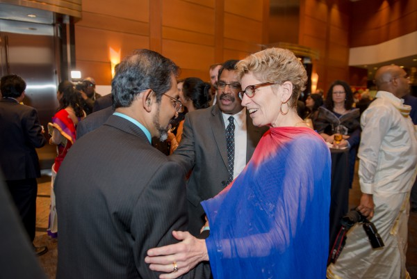 Premier Kathleen Wynne in conversation with Rev. Fr. S.J. Emmanuel, Dr. Elias Jeyarajah of United States Tamil Political Action Council (USTPAC) and David Poopalapillai of Canadian Tamil Congress