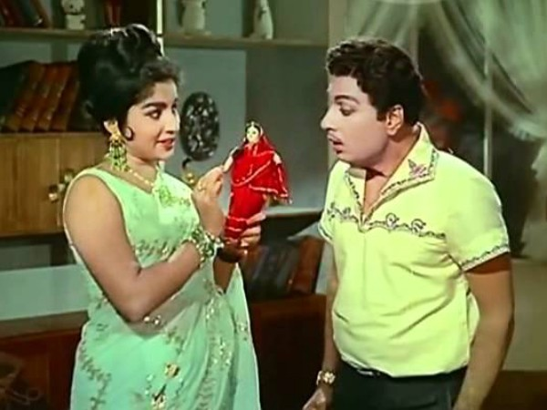 J. Jayalalithaa still from a movie with MGR